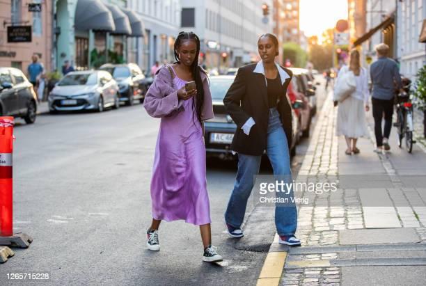 Guests seen outside Saks Potts during Copenhagen Fashion Week Spring/Summer 2021 on August 12, 2020 in Copenhagen, Denmark.