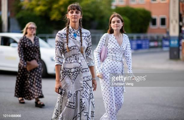 Guests seen outside Saks Potts during the Copenhagen Fashion Week Spring/Summer 2019 on August 9, 2018 in Copenhagen, Denmark.