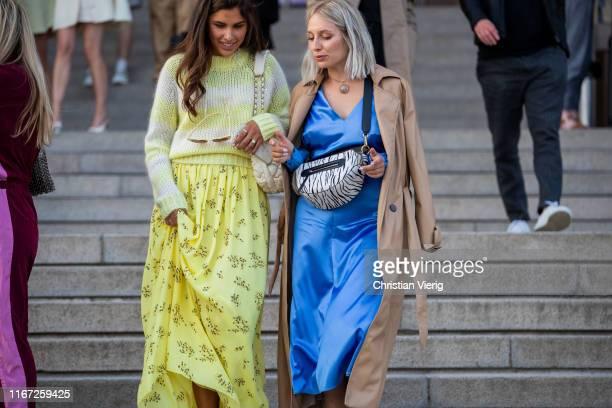 Guests seen outside Samsøe & Samsøe during Copenhagen Fashion Week Spring/Summer 2020 on August 07, 2019 in Copenhagen, Denmark.