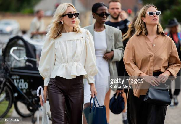 Guests seen outside Samsøe & Samsøe during Copenhagen Fashion Week Spring/Summer 2020 on August 07, 2019 in Copenhagen, Denmark.
