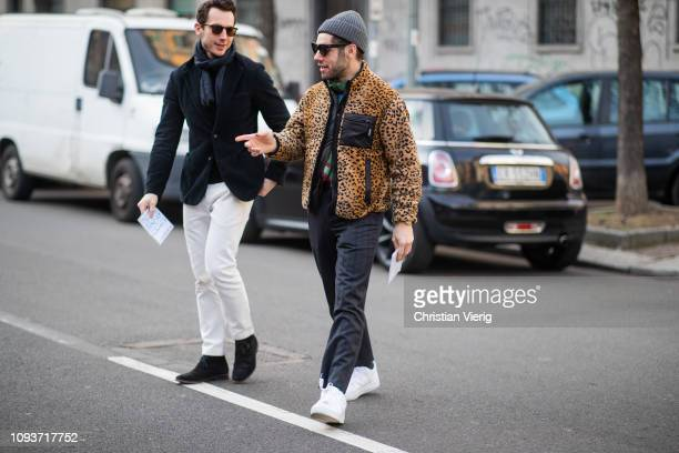 Guests seen outside Sunnei during Milan Menswear Fashion Week Autumn/Winter 2019/20 on January 13 2019 in Milan Italy