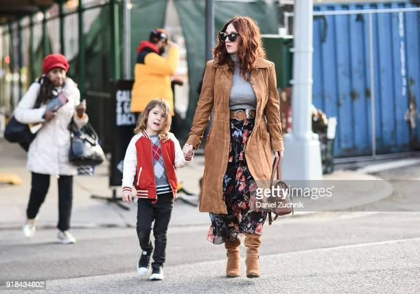 Guests seen outside the Marcel Ostertag show during New York Fashion Week Women's A/W 2018 on February 14 2018 in New York City