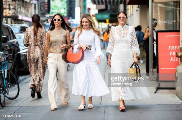 Guests seen outside Tibi during New York Fashion Week September 2019 on September 08, 2019 in New York City.