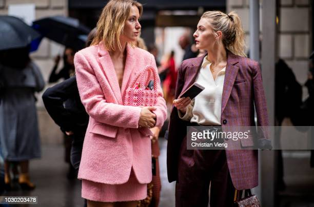 Guests seen outside Tibi during New York Fashion Week Spring/Summer 2019 on September 9 2018 in New York City