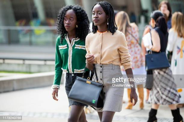 Guests seen outside Tory Burch during New York Fashion Week September 2019 on September 08, 2019 in New York City.