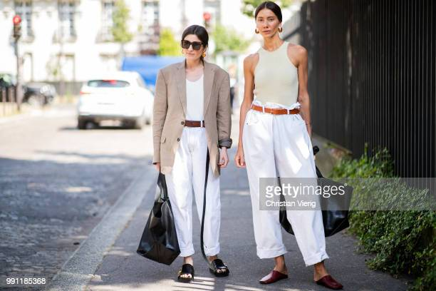 Guests seen outside Ulyana Sergeenko on day three during Paris Fashion Week Haute Couture FW18 on July 2 2018 in Paris France