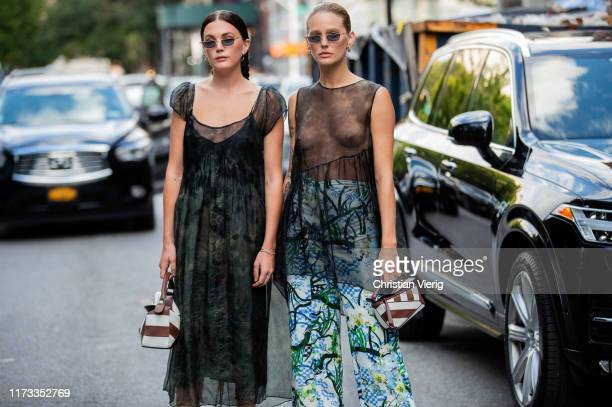 Guests seen wearing brown white striped mini bag, sheer top outside Collina Strada during New York Fashion Week September 2019 on September 08, 2019...