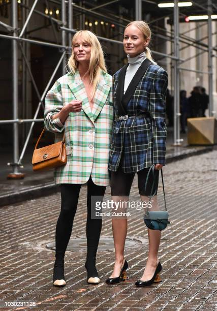 Guests seen wearing checkered coats outside the Tibi show during New York Fashion Week Women's S/S 2019 on September 9 2018 in New York City
