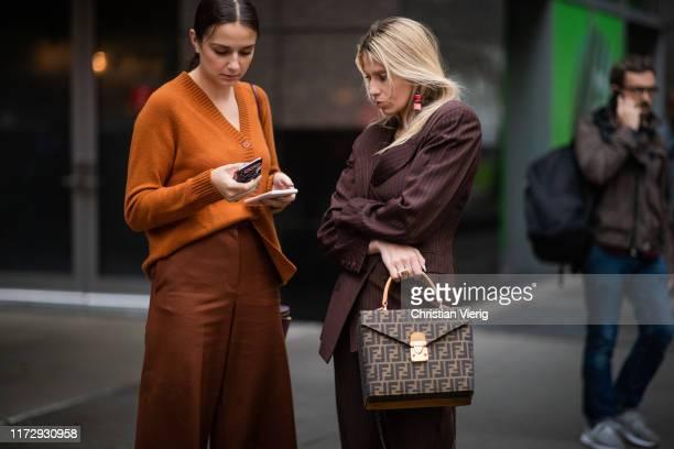 Guests seen wearing Fendi bag outside Rag Bone during New York Fashion Week on September 06 2019 in New York City