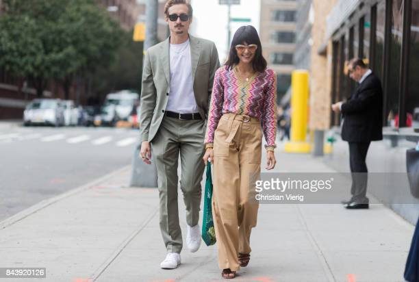 Guests seen wearing high waisted pants Missoni knit in the streets of Manhattan outside Desigual during New York Fashion Week on September 7 2017 in...