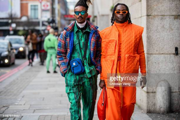 Guests seen wearing orange vest jumper sunglasses and checked down feather jacket green jacket and pants with jungle print outside Jordan Luca during...