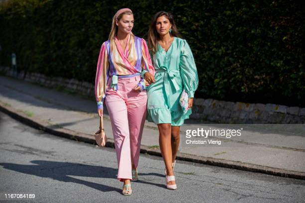 Guests seen wearing pastel outside Stine Goya during Copenhagen Fashion Week Spring/Summer 2020 on August 08 2019 in Copenhagen Denmark