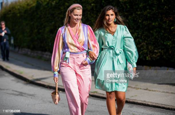 Guests seen wearing pastel outside Stine Goya during Copenhagen Fashion Week Spring/Summer 2020 on August 08, 2019 in Copenhagen, Denmark.