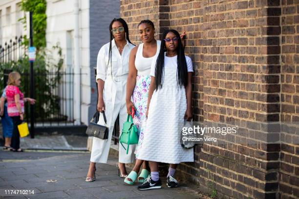 Guests seen wearing white dress outside Molly Goddard during London Fashion Week September 2019 on September 14, 2019 in London, England.