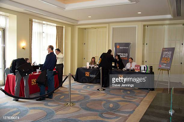 Guests sign in at the AppNexus Summit SF at the Four Seasons Hotel on April 14 2011 in San Francisco California