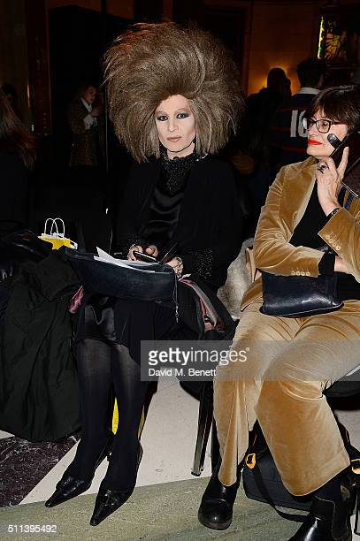 Guests sit in the front row at the Pam Hogg show at Fashion Scout during London Fashion Week Autumn/Winter 2016/17 at Freemasons' Hall on February 19...