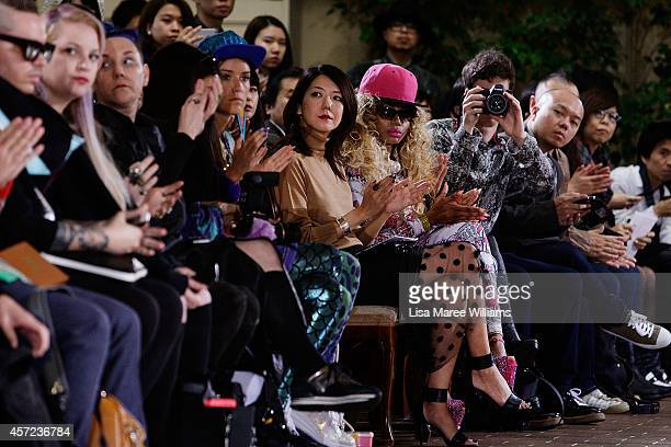 Guests sit in the front row during the LAMARCK show as part of Mercedes Benz Fashion Week TOKYO 2015 S/S at Shibuya Hikarie on October 15 2014 in...