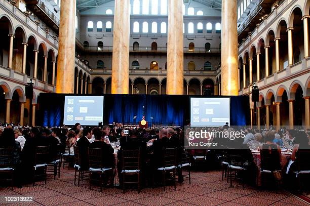 Guests sitting down to dinner during the 38th Annual Jefferson Awards at National Building Museum on June 22 2010 in Washington DC