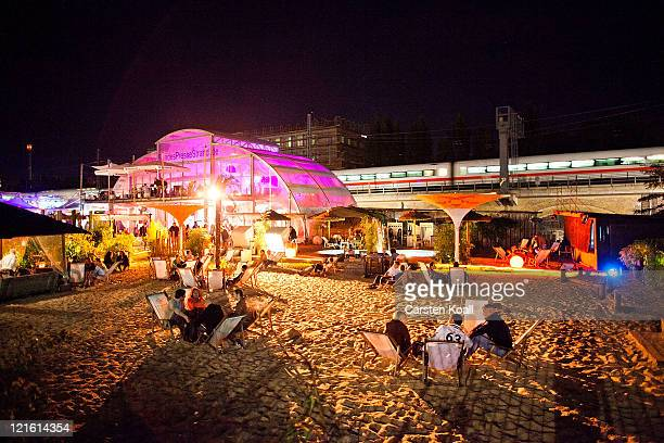 Guests spend the evening in the beach bar Bundespressestrand on August 20 2011 in Berlin Germany Berlin which is among Europe's most popular travel...