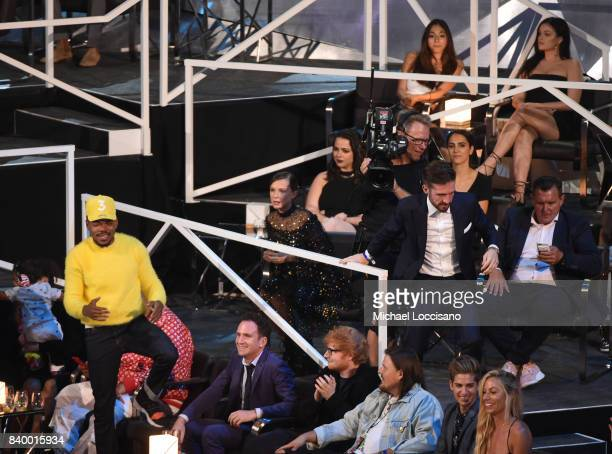 Guests such as Chance The Rapper Millie Bobby Brown and Ed Sheeran attend the 2017 MTV Video Music Awards at The Forum on August 27 2017 in Inglewood...