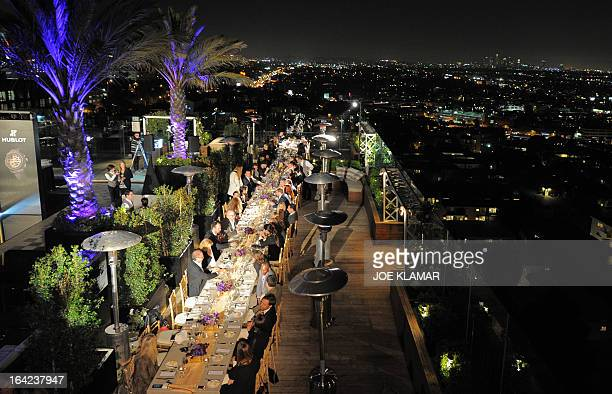 Guests take a dinner at the penthouse of The London West Hollywood Hotel during the celebration of Hublot's new brand ambassador Kobe Bryant on March...