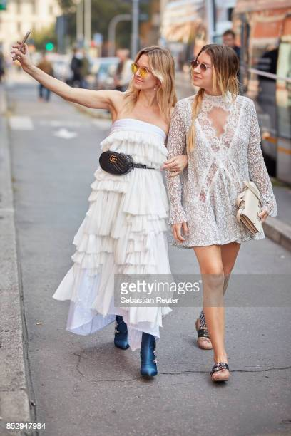 Guests taking a selfie during Milan Fashion Week Spring/Summer 2018 on September 24 2017 in Milan Italy