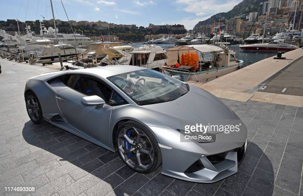 Guests test drive the Lamborghini Huracan at Brunch in the Marina of the Yacht Club Monaco during the Lamborghini Influencer Awards Monaco 2019 Event...