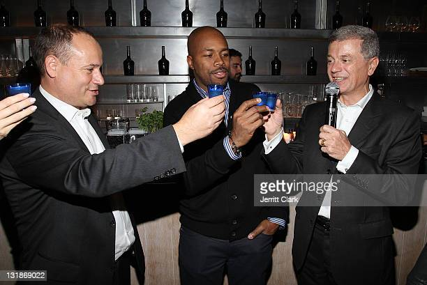 Guests toast to DJ DNice at a Hennessey Black party to celebrate DJ DNice signing to Roc Nation DJ's at The Cooper Square Hotel on November 16 2010...
