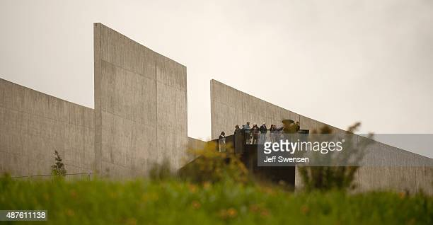 Guests tour the visitor center at the Flight 93 National Memorial on September 10 2015 in Shanksville Pennsylvania The newly opened $26 million...
