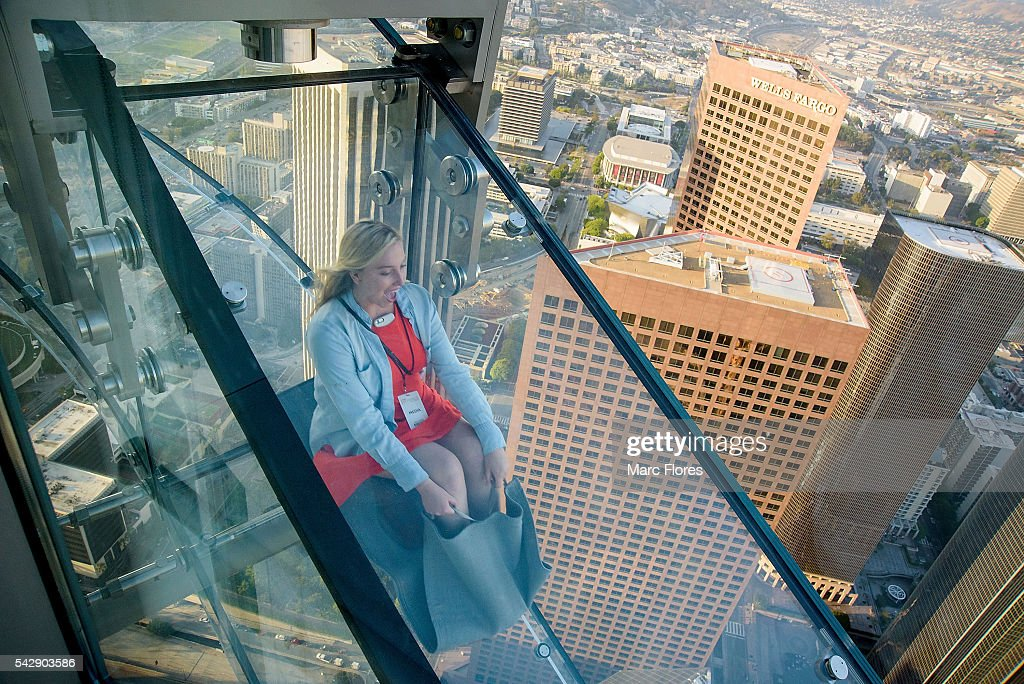 Guests Travel Down The Sky Slide During The Oue Skyspace La Ribbon