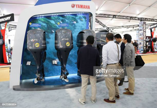 Guests view the YAMAHA Outboard lineup at the Miami International Boat Show on February 16 2017 in Miami Florida
