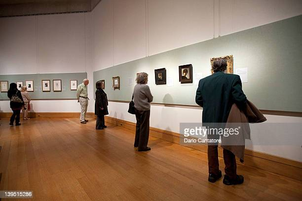 Guests view work by Edgar Degas and Rembrandt during the The Steins Collect Matisse Picasso and the Parisian AvantGarde press preview at the...