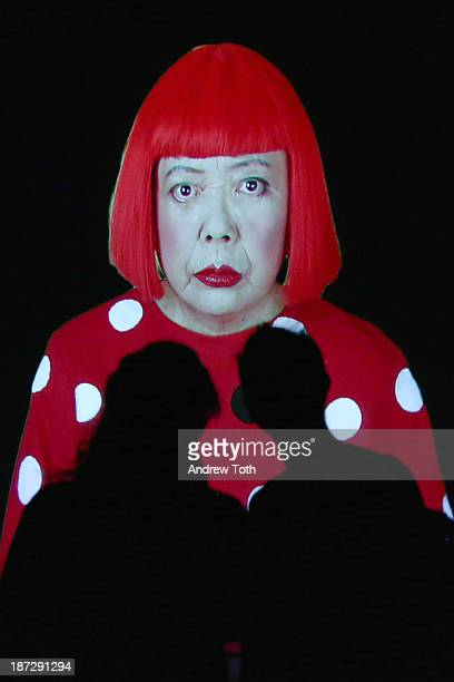Guests viewing artwork at the Yayoi Kusama 'I Who Have Arrived In Heaven' Exhibition Press Preview at David Zwirner Art Gallery on November 7 2013 in...