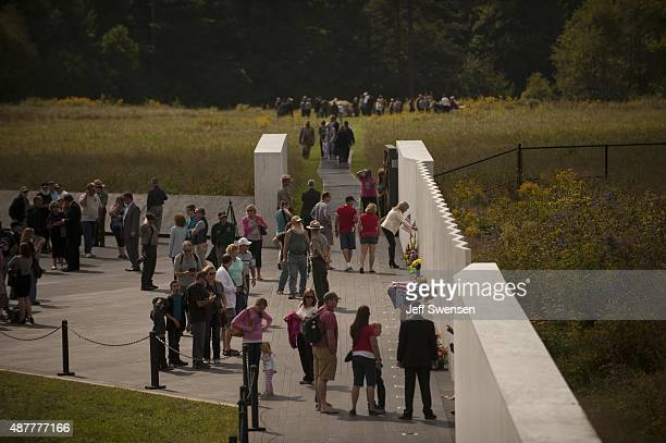Guests visit the Flight 93 National Memorial during services during the 14th anniversary of the 9/11 attack in Shanksville Pennsylvania Homeland...
