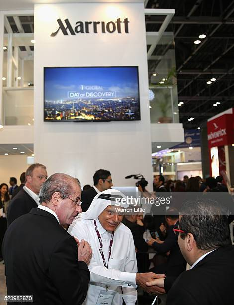 Guests visit the Marriott stand at the Arabian Travel Market 2016 at Dubai International Exhibition and Convention Centre on April 25 in Dubai United...