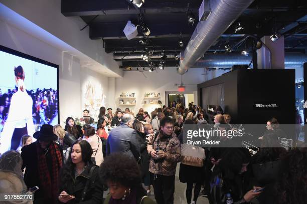 Guests visit the Papyrus Café at IMG NYFW The Shows at IMG NYFW The Shows LOBBY on February 12 2018 in New York City