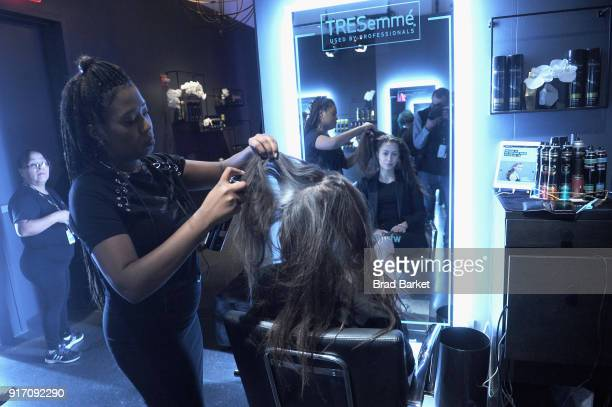Guests visit the TRESemmé Salon during IMG NYFW The Shows at Spring Studios on February 11 2018 in New York City