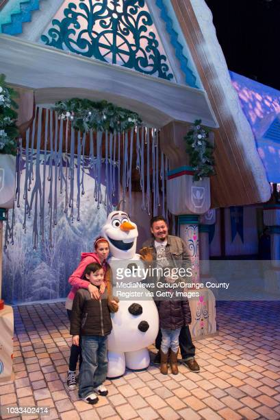 Guests visiting the new Olaf's Snow Fest have their photos taken with Olaf INFORMATION DisneyFrozenOpen Ð 1/5/15 Ð LEONARD ORTIZ ORANGE COUNTY...