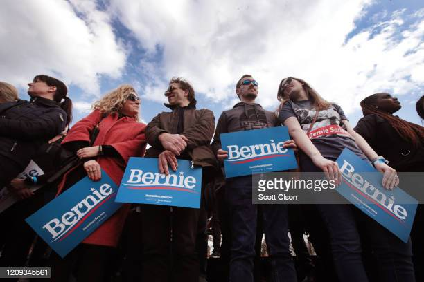 Guests wait for Democratic presidential candidate Sen Bernie Sanders to arrive at a campaign rally at Finlay Park on February 28 2020 in Columbia...