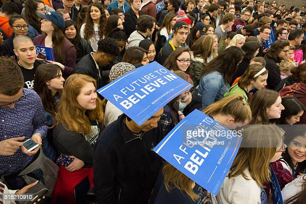 Guests wait for Democratic presidential candidate US Sen Bernie Sanders to speak in the Activities and Recreation Center on the campus of the...
