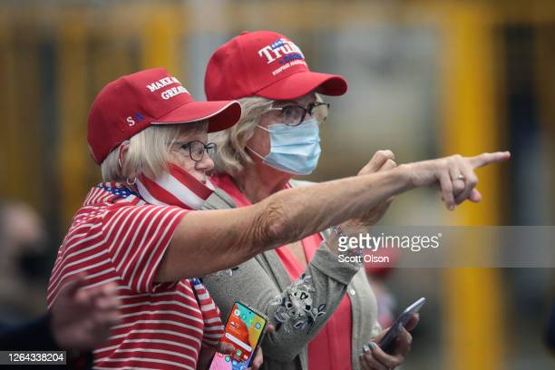 Guests wait for President Donald Trump to speak at a Whirlpool manufacturing facility on August 06, 2020 in Clyde, Ohio. Whirlpool is the last...