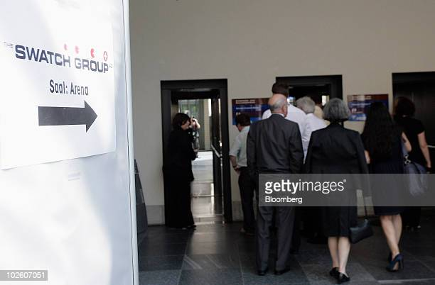 Guests wait in front of an elevator to get to the memorial service for Nicolas Hayek founder of Swatch Group AG at the Kursaal in Bern Switzerland on...