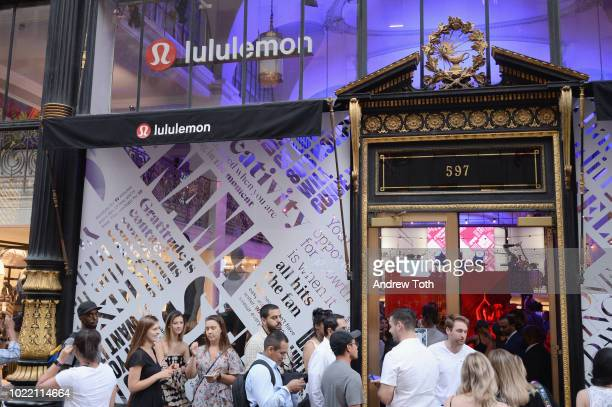 Guests wait in line down 5th Avenue to enter the lululemon x Good Luck Dry Cleaners 20th Birthday Party on August 23, 2018 in New York City.