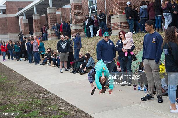 Guests wait to enter a rally for Democratic presidential candidate US Sen Bernie Sanders in the Activities and Recreation Center on the campus of the...