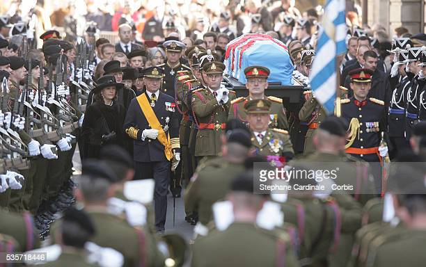 Guests walk to the Grand Dukal Palace for the funeral of Grand Duchess of Luxembourg JosephineCharlotte daughter of former Belgian King Leopold III...