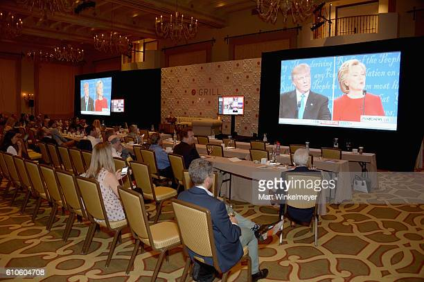 Guests watch the Presidential Debate during TheWrap's 7th Annual TheGrill at Montage Beverly Hills on September 26 2016 in Beverly Hills California