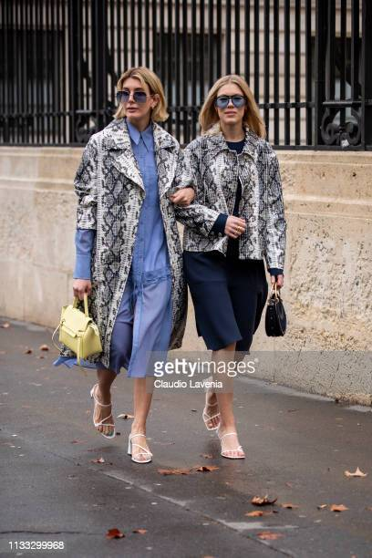 Guests wearing a long light blue shirt dress white sandals yellow bag and snake print coat and blue dress white sandals black bag and snake print...