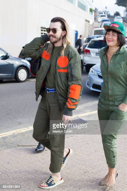 Guests wearing all army green and bomber jacket during MercedesBenz Fashion Week Resort 18 Collections at Carriageworks on May 18 2017 in Sydney...