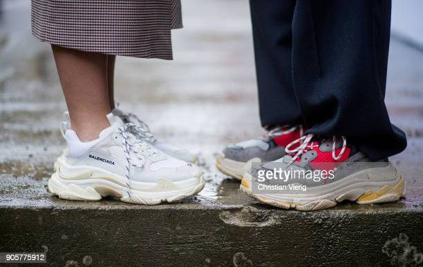 Guests wearing Balenciaga sneakers seen during the Berlin Fashion Week January 2018 at Bauakademie on January 16 2018 in Berlin Germany
