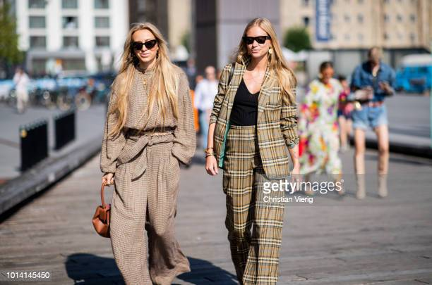 Guests wearing beige seen outside Munthe during the Copenhagen Fashion Week Spring/Summer 2019 on August 9 2018 in Copenhagen Denmark